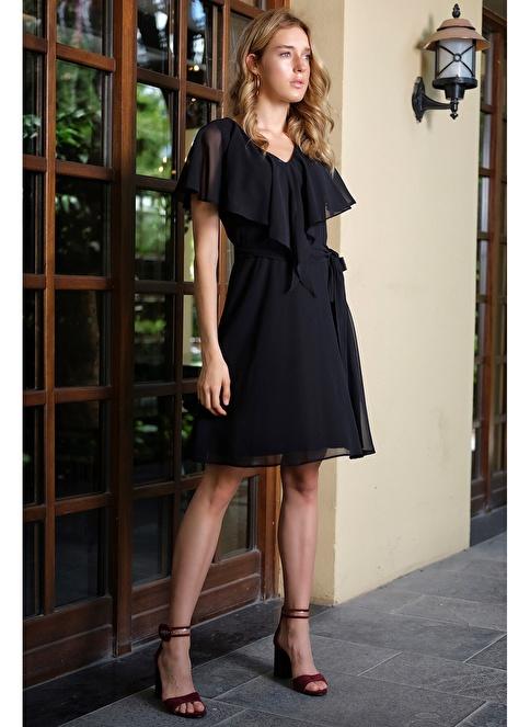İroni Volan Yaka Midi Şifon Elbise Siyah